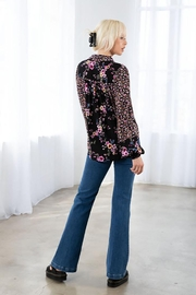 Love Stitch Mixed Challis Long Sleeve Button Front Top - Back cropped