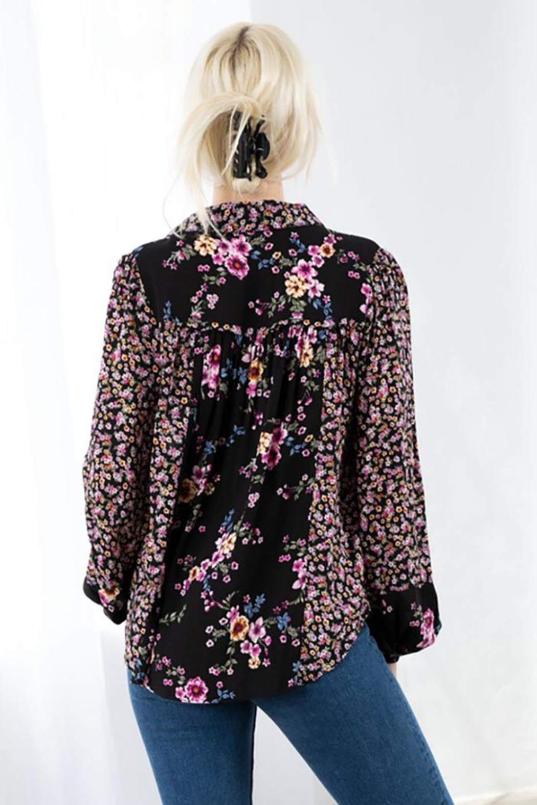 Love Stitch Mixed Challis Long Sleeve Button Front Top - Side Cropped Image