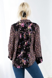 Love Stitch Mixed Challis Long Sleeve Button Front Top - Side cropped