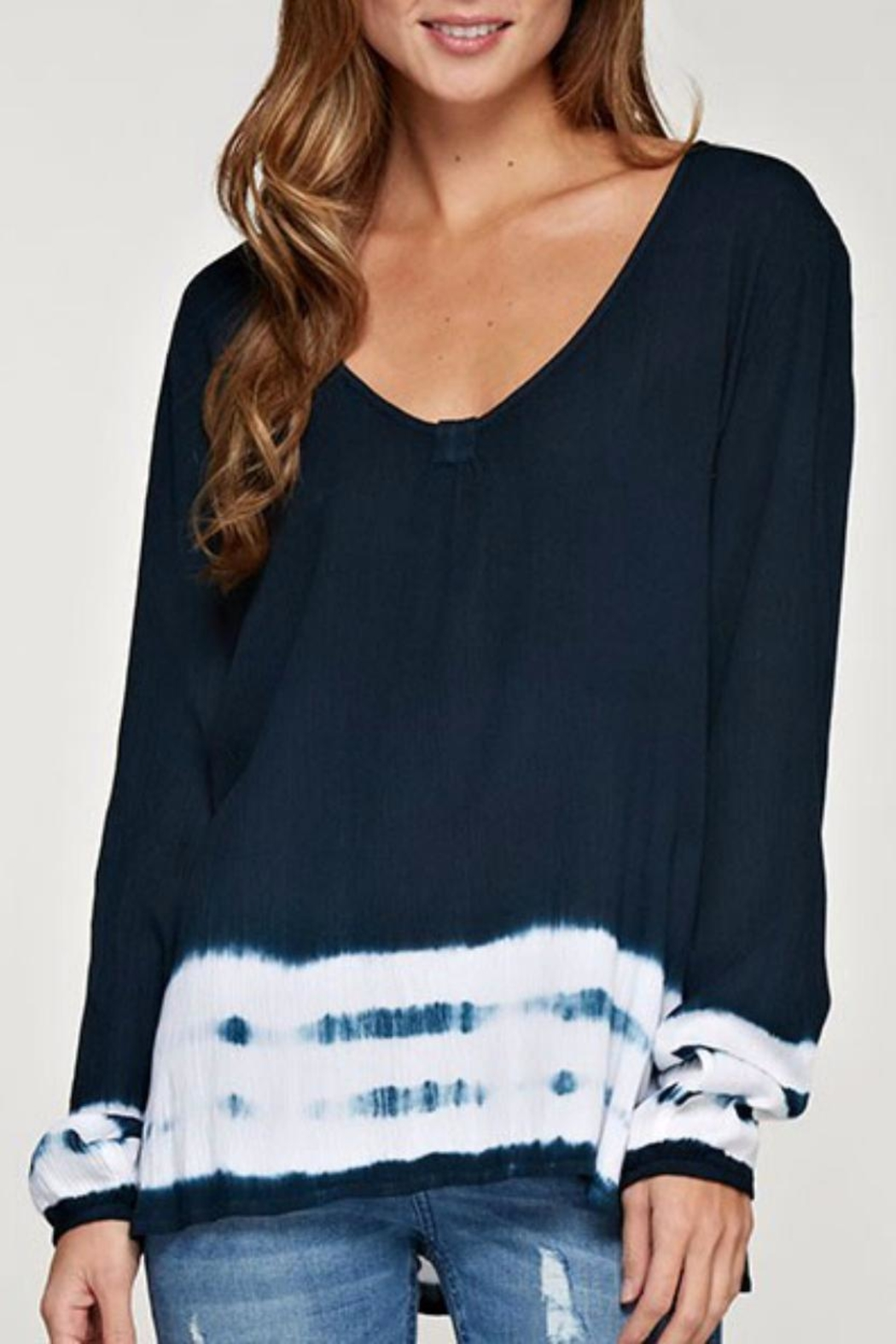 Love Stitch Navy Dip Dye Top - Main Image