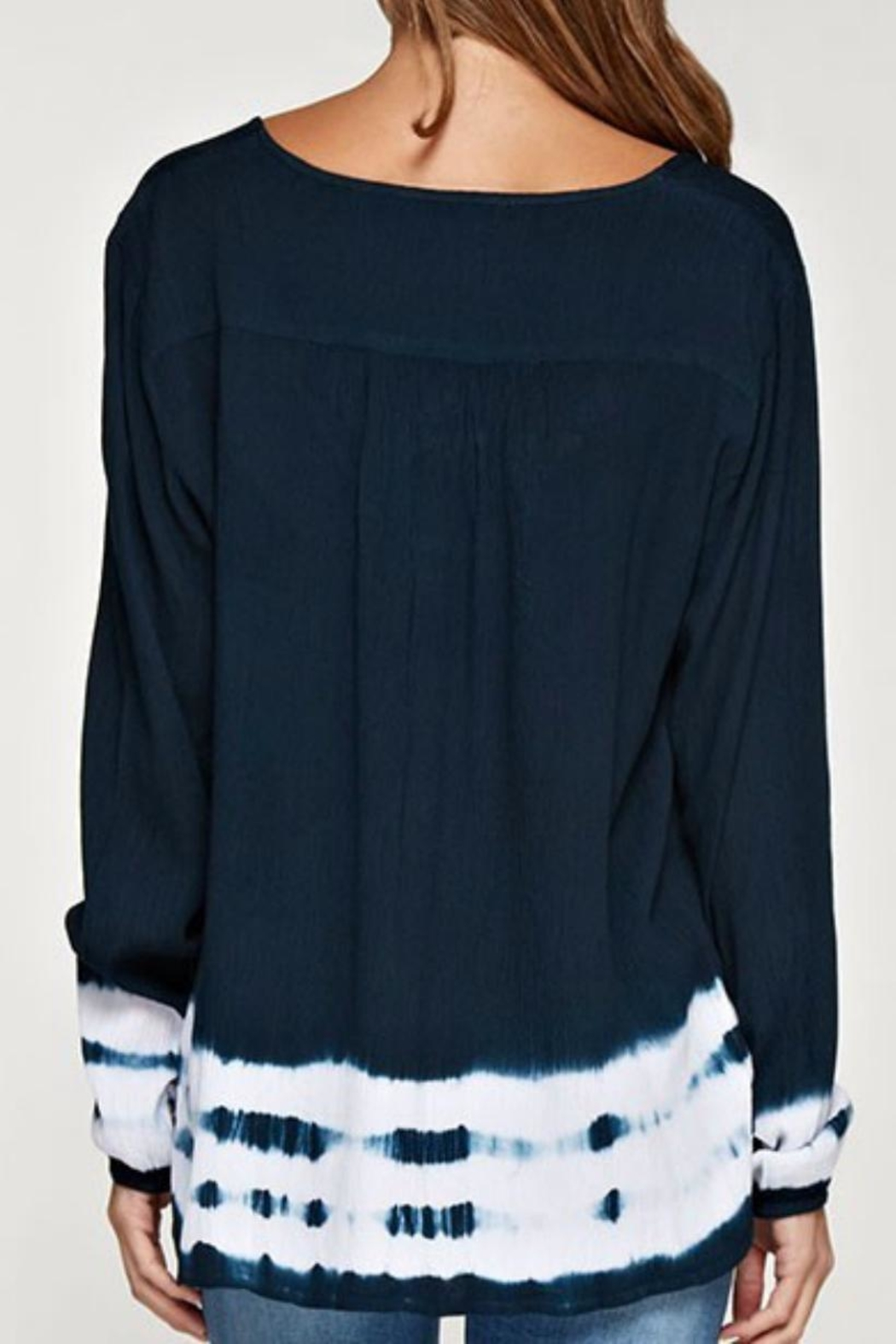 Love Stitch Navy Dip Dye Top - Front Full Image