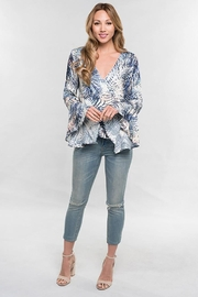 Love Stitch Palm Leaf Surplice Front Top Bell Sleeve - Other