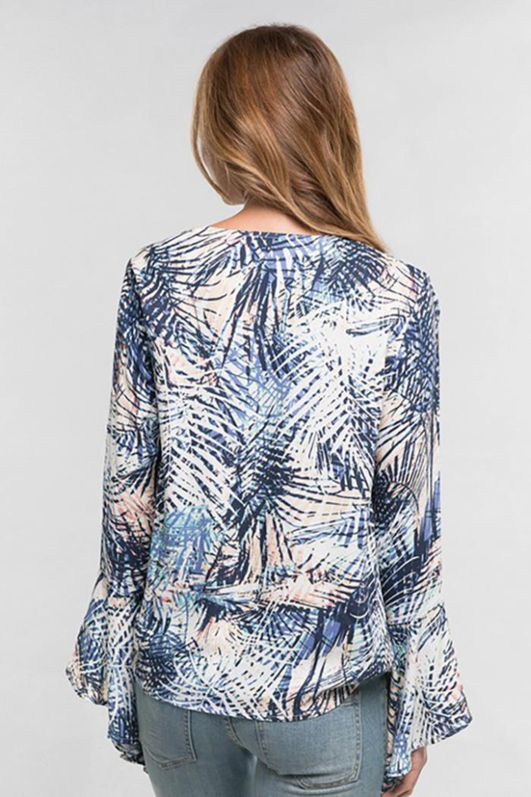 Love Stitch Palm Leaf Surplice Front Top Bell Sleeve - Back Cropped Image