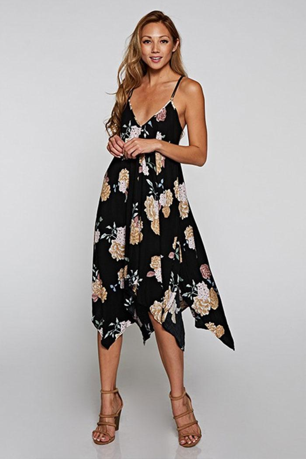 Love Stitch Printed Handkerchief Dress - Front Cropped Image
