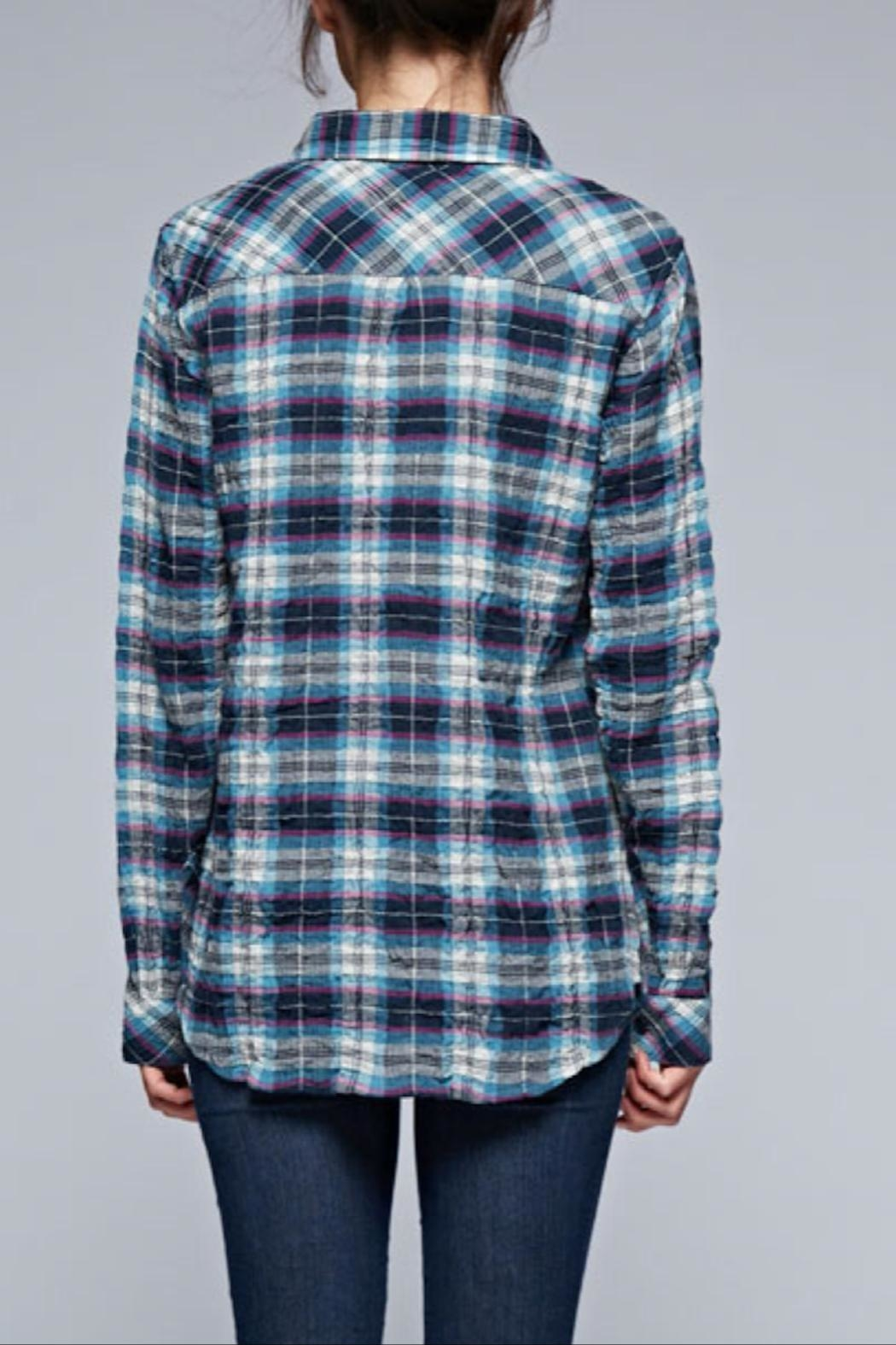 Love Stitch Puckered Plaid Buttondown - Back Cropped Image