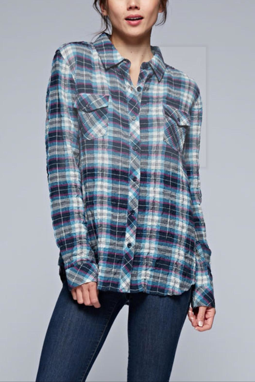 Love Stitch Puckered Plaid Buttondown - Main Image