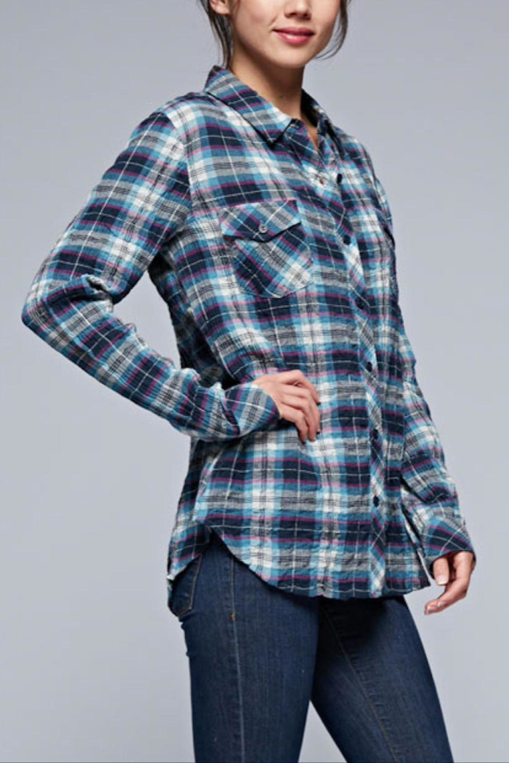 Love Stitch Puckered Plaid Buttondown - Front Full Image