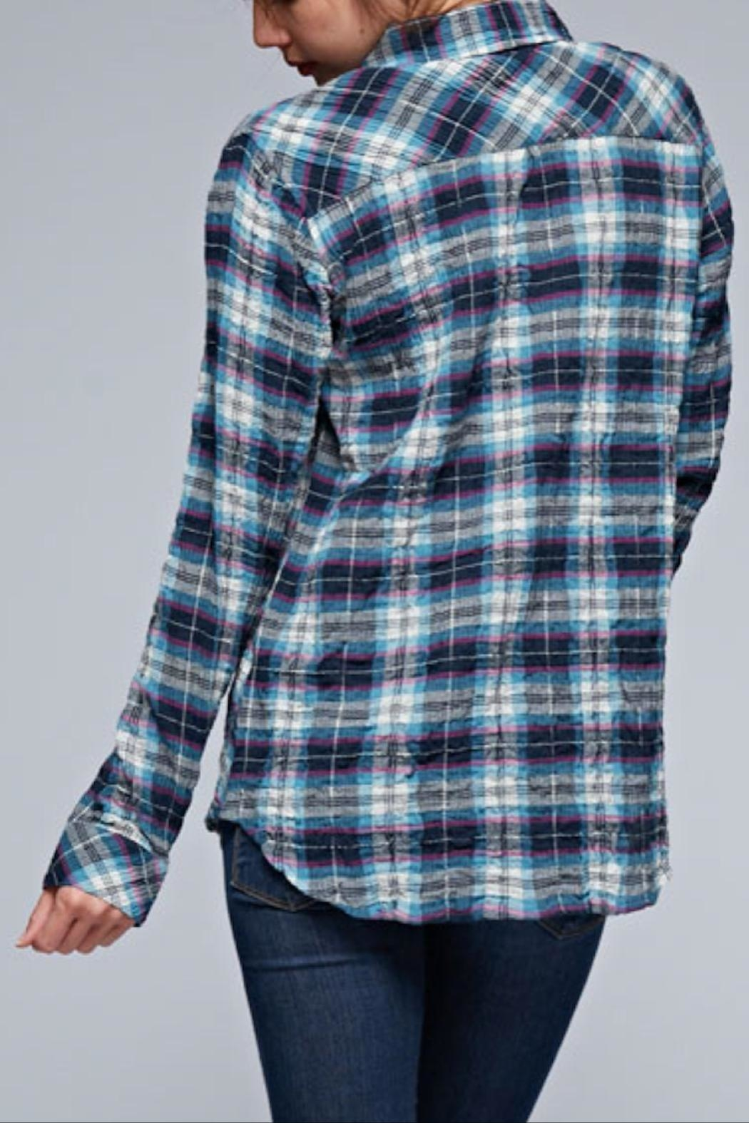 Love Stitch Puckered Plaid Buttondown - Side Cropped Image