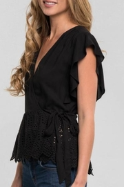 Love Stitch Ruffle Wrap Top - Front full body