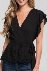 Love Stitch Ruffle Wrap Top - Front cropped