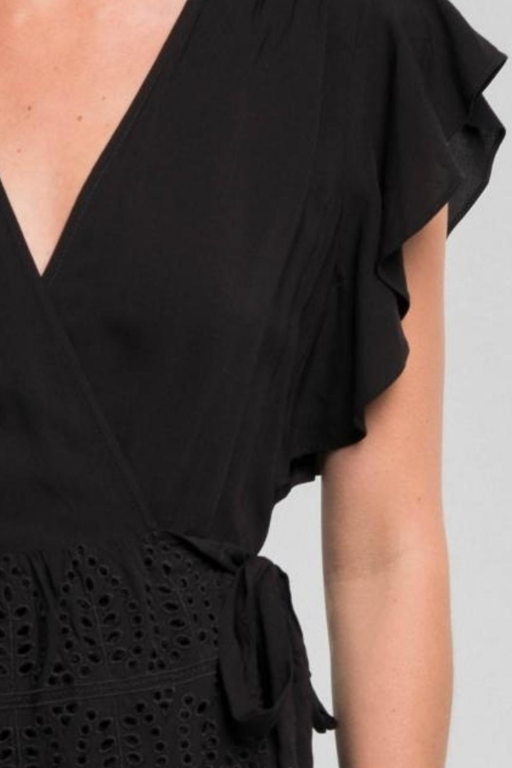 Love Stitch Ruffle Wrap Top - Side Cropped Image