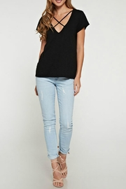 Love Stitch Crissy Black Tee - Front cropped