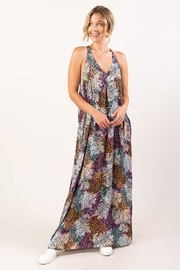 Love Stitch Sleeveless Abstract Floral Print Maxi Dress - Other