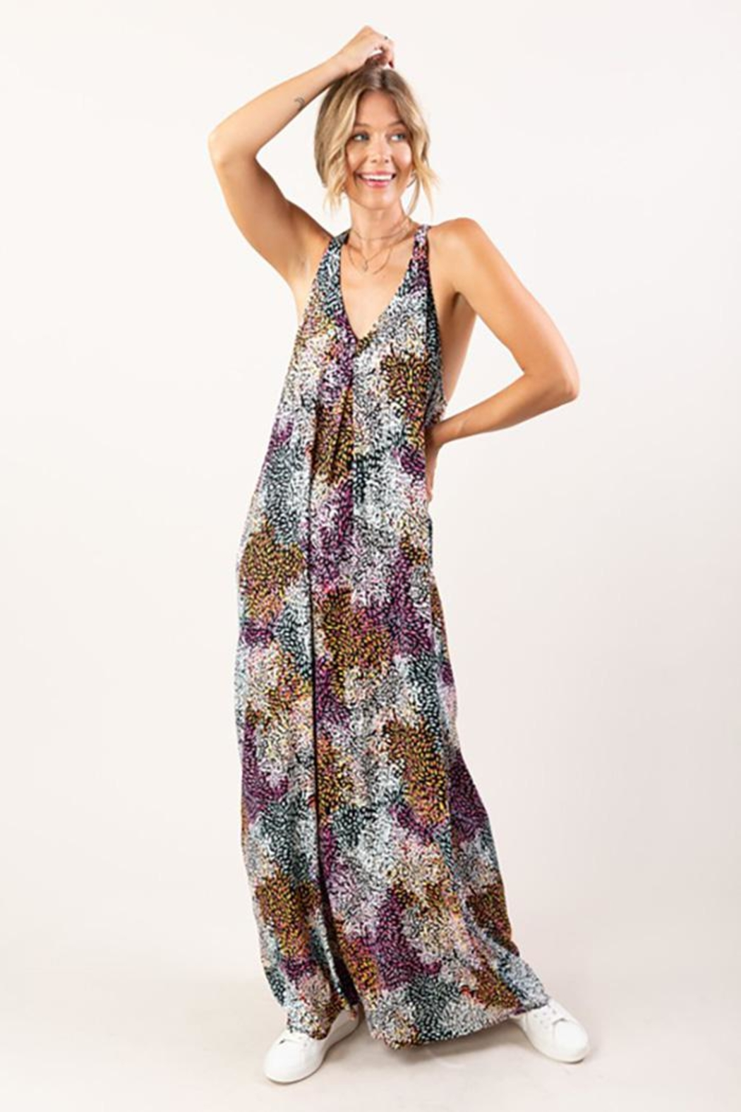 Love Stitch Sleeveless Abstract Floral Print Maxi Dress - Main Image