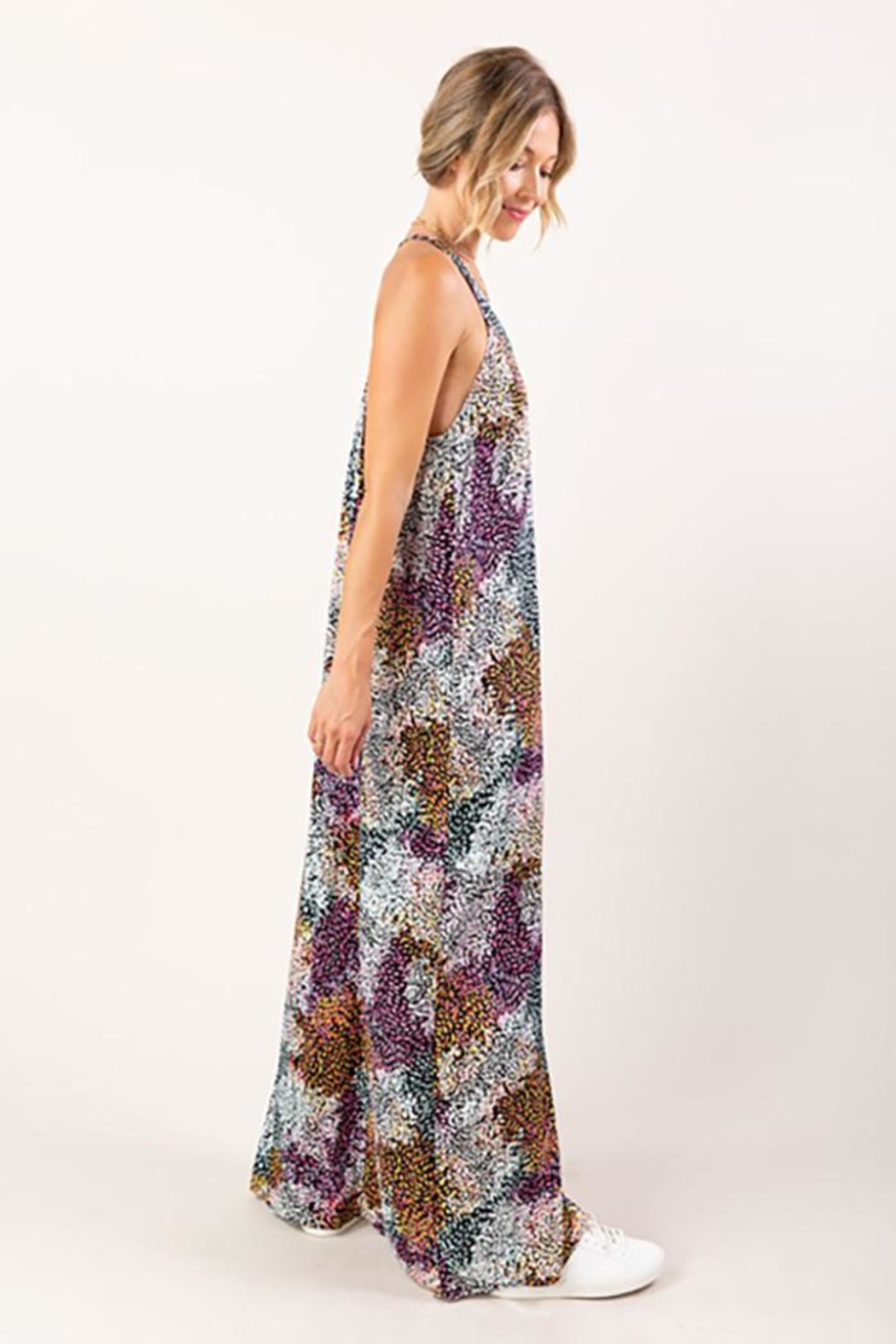 Love Stitch Sleeveless Abstract Floral Print Maxi Dress - Back Cropped Image
