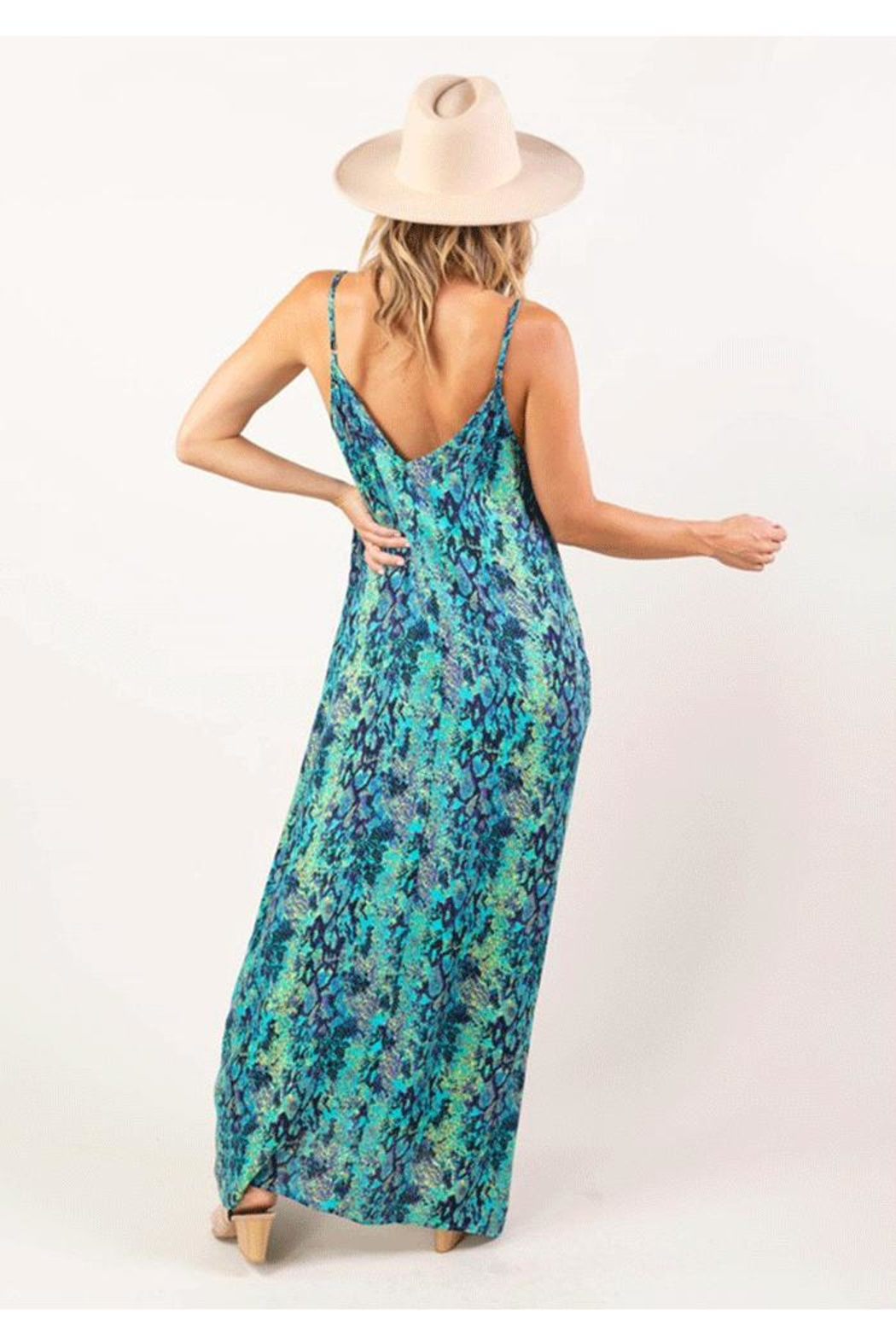 Love Stitch Sleeveless Snakeskin Print Maxi Dress - Front Full Image