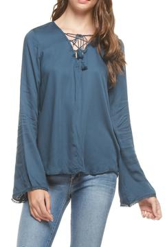 Shoptiques Product: Teal Lace Up Top