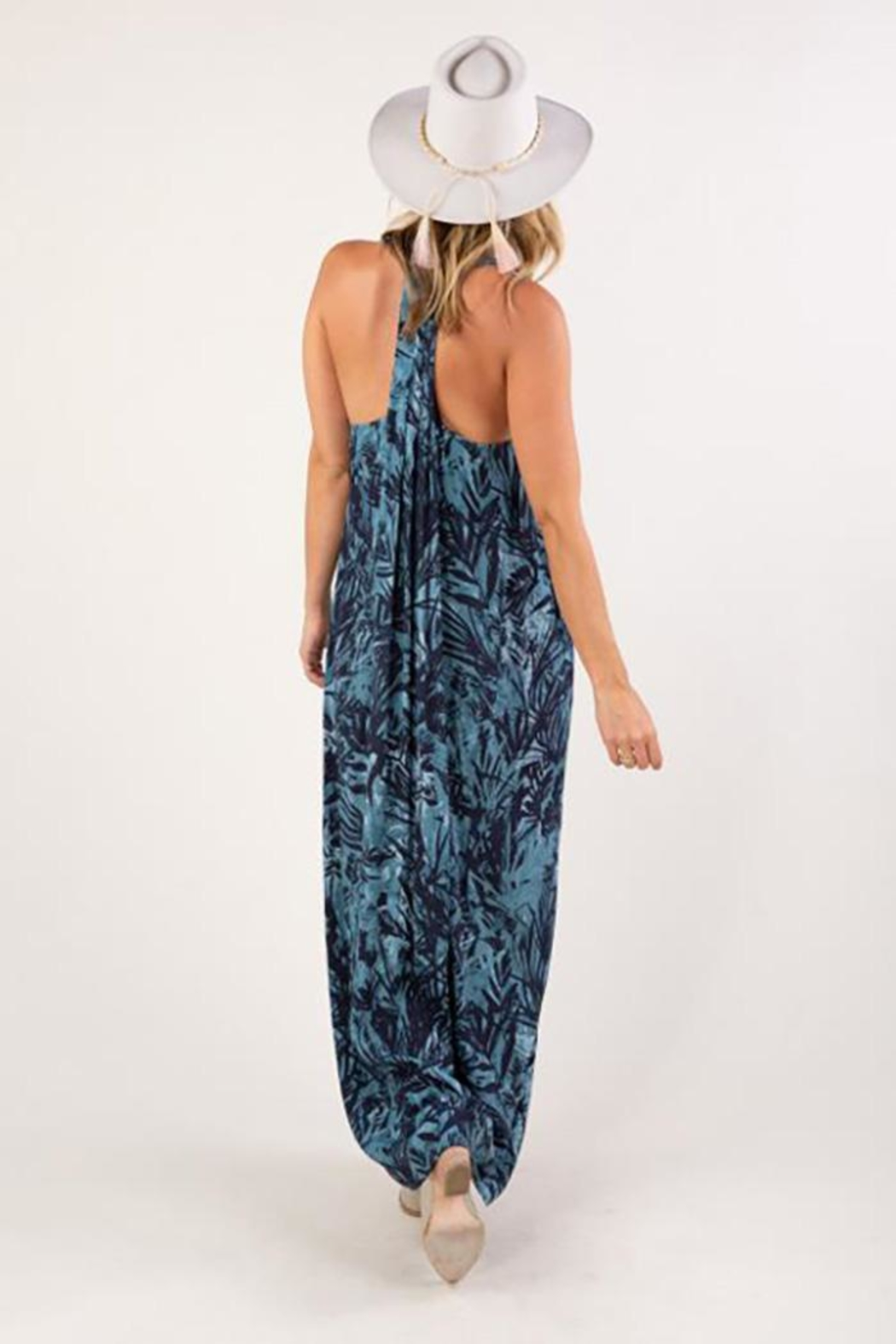 Love Stitch Tropical Print Sleeveless Maxi Dress - Front Full Image