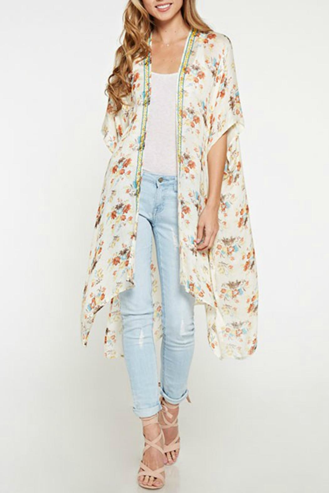 Love Stitch Vintage Floral Kimono - Front Cropped Image