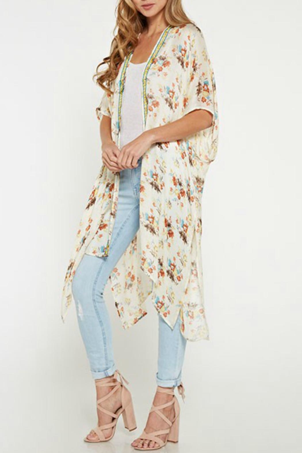 Love Stitch Vintage Floral Kimono - Side Cropped Image