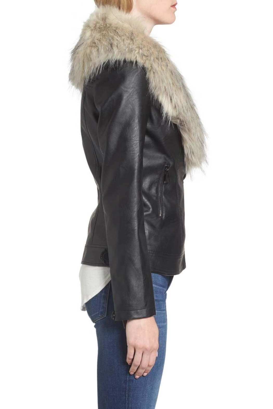 love token Faux Fur Collar Jacket - Front Full Image