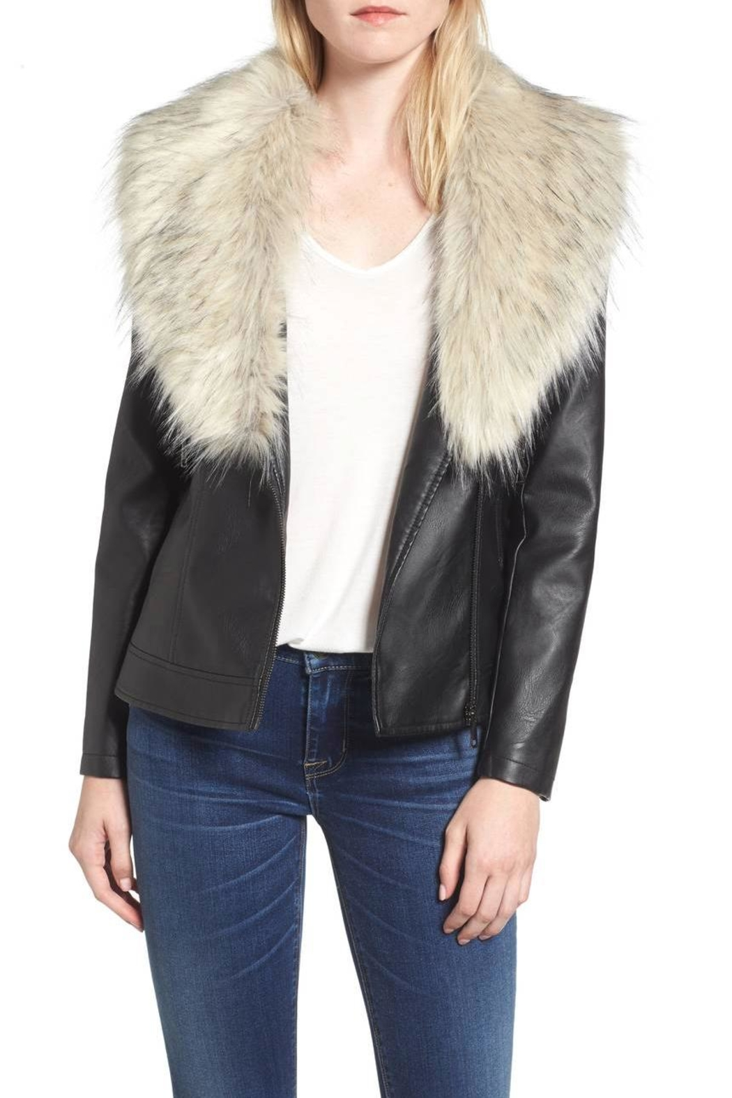 love token Faux Fur Collar Jacket - Main Image