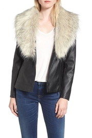 love token Faux Fur Collar Jacket - Front cropped