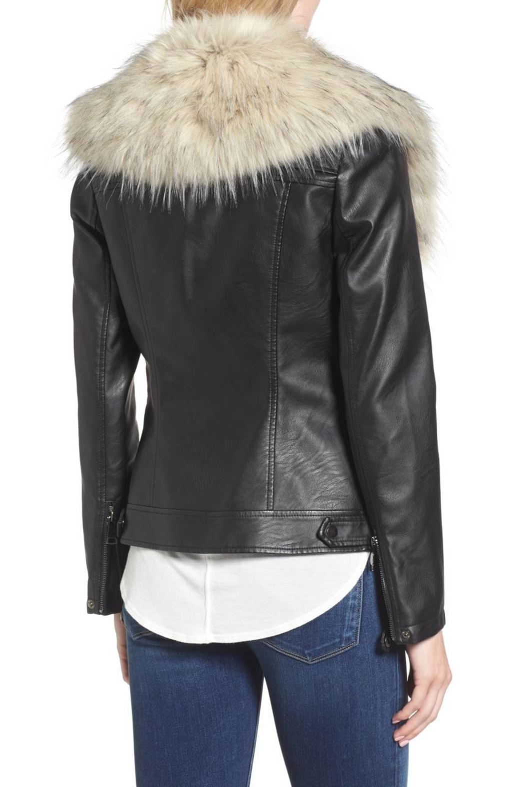 love token Faux Fur Collar Jacket - Side Cropped Image