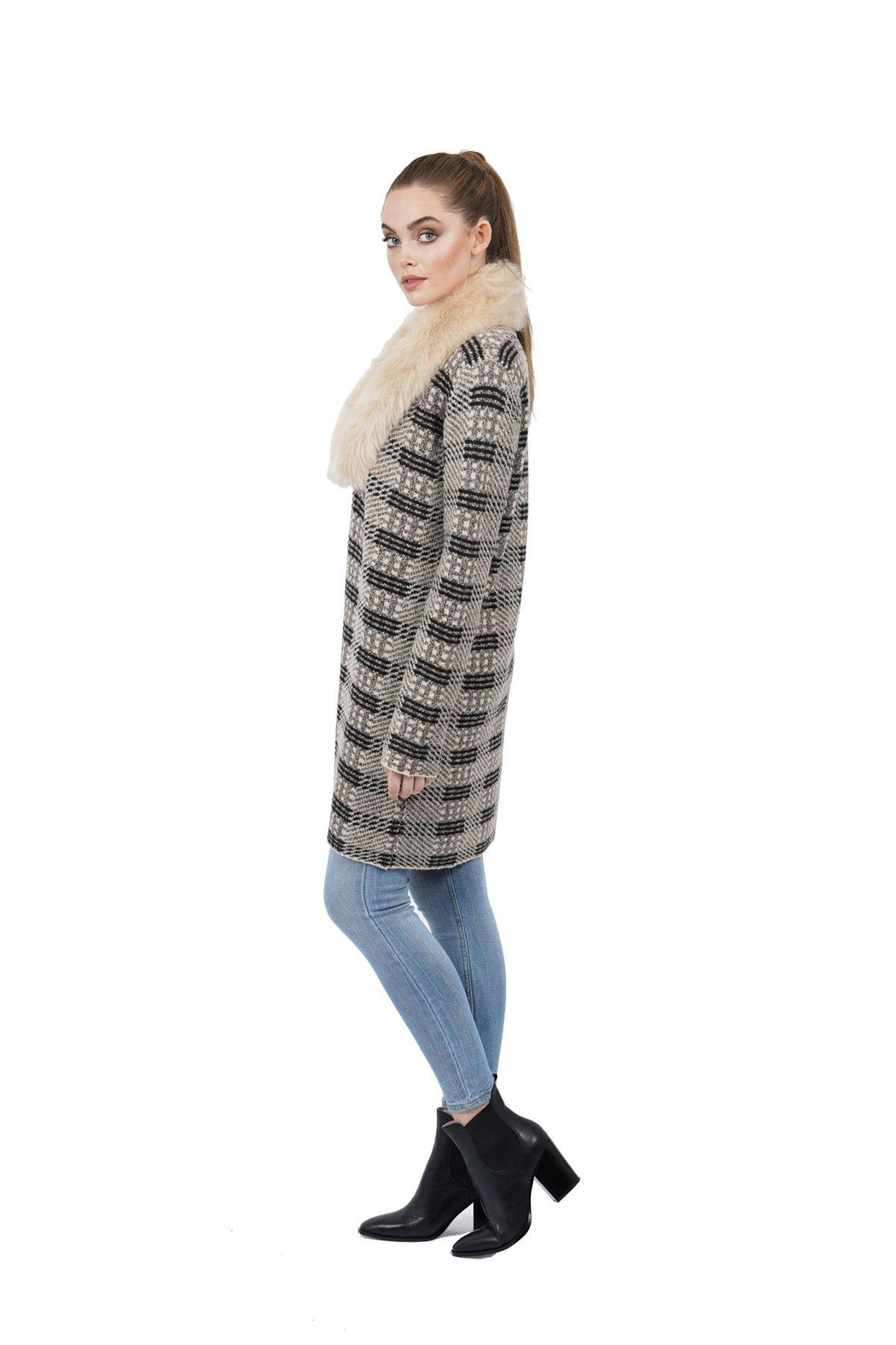 love token Gisela Faux-Fur Knit - Front Cropped Image