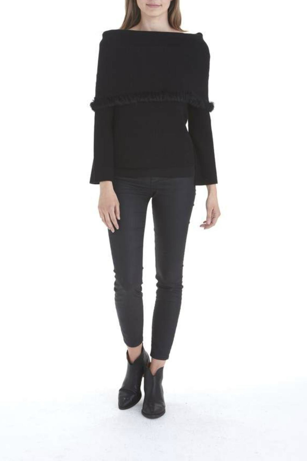 love token Rabbit Trim Sweater - Front Cropped Image