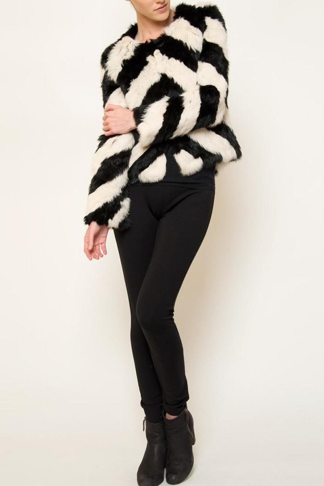 love token Striped Fur Jacket - Main Image