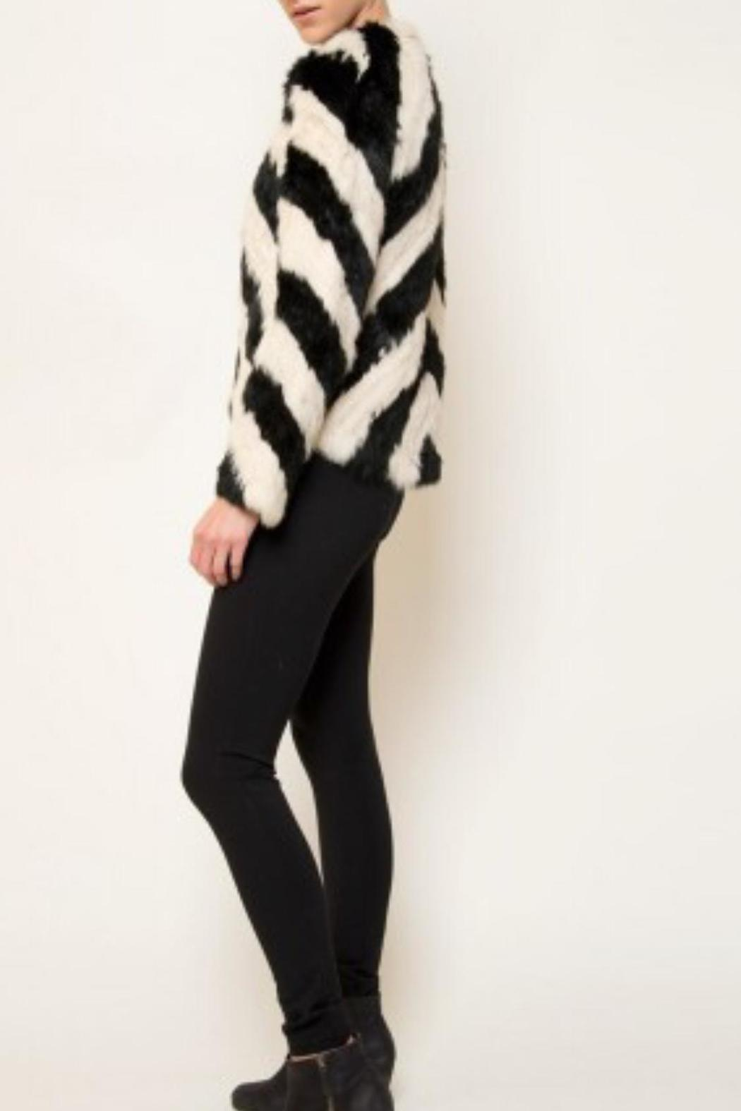 love token Striped Fur Jacket - Front Full Image
