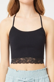 Love Tree All Day Lace Trim Cami Bralette In Black And Nude - Product Mini Image