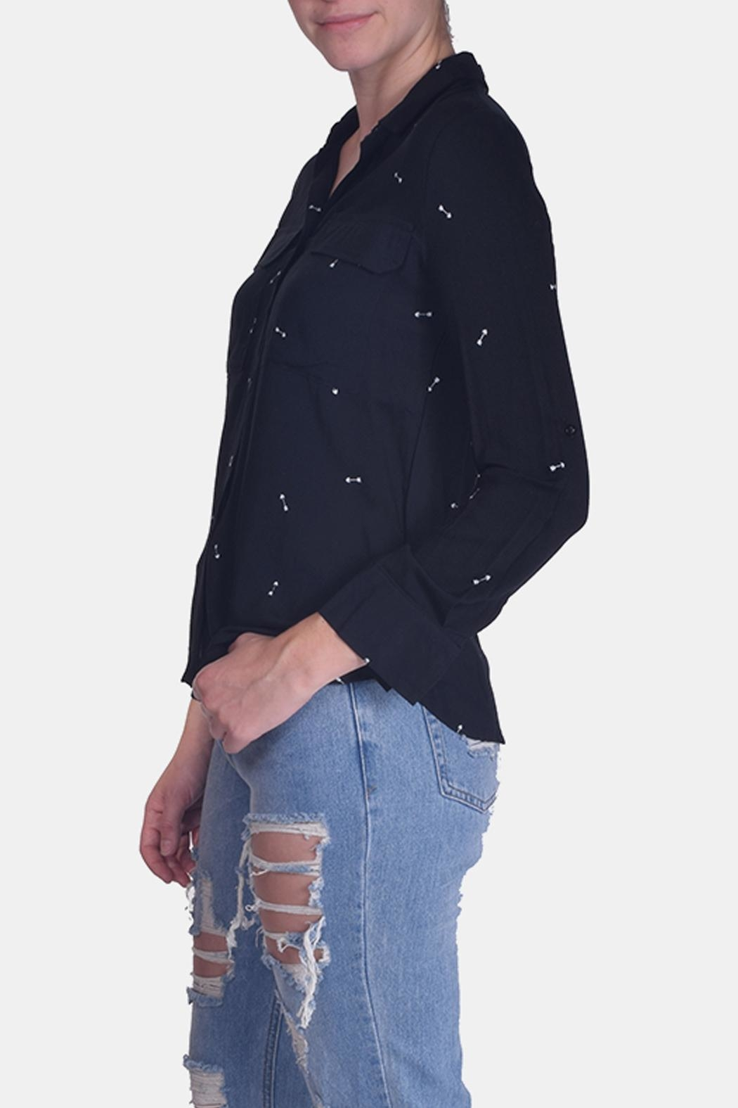 Love Tree Arrow Button-Up Blouse - Side Cropped Image