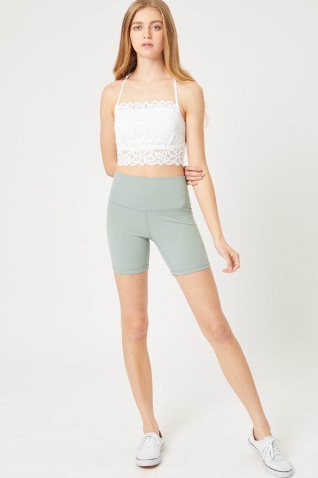 Love Tree Basic High Waisted Biker Shorts - Front Cropped Image
