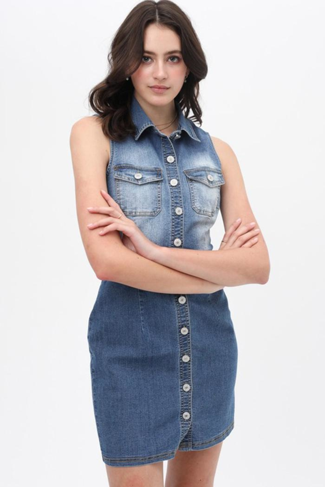 Love Tree Belted Denim Dress - Front Cropped Image