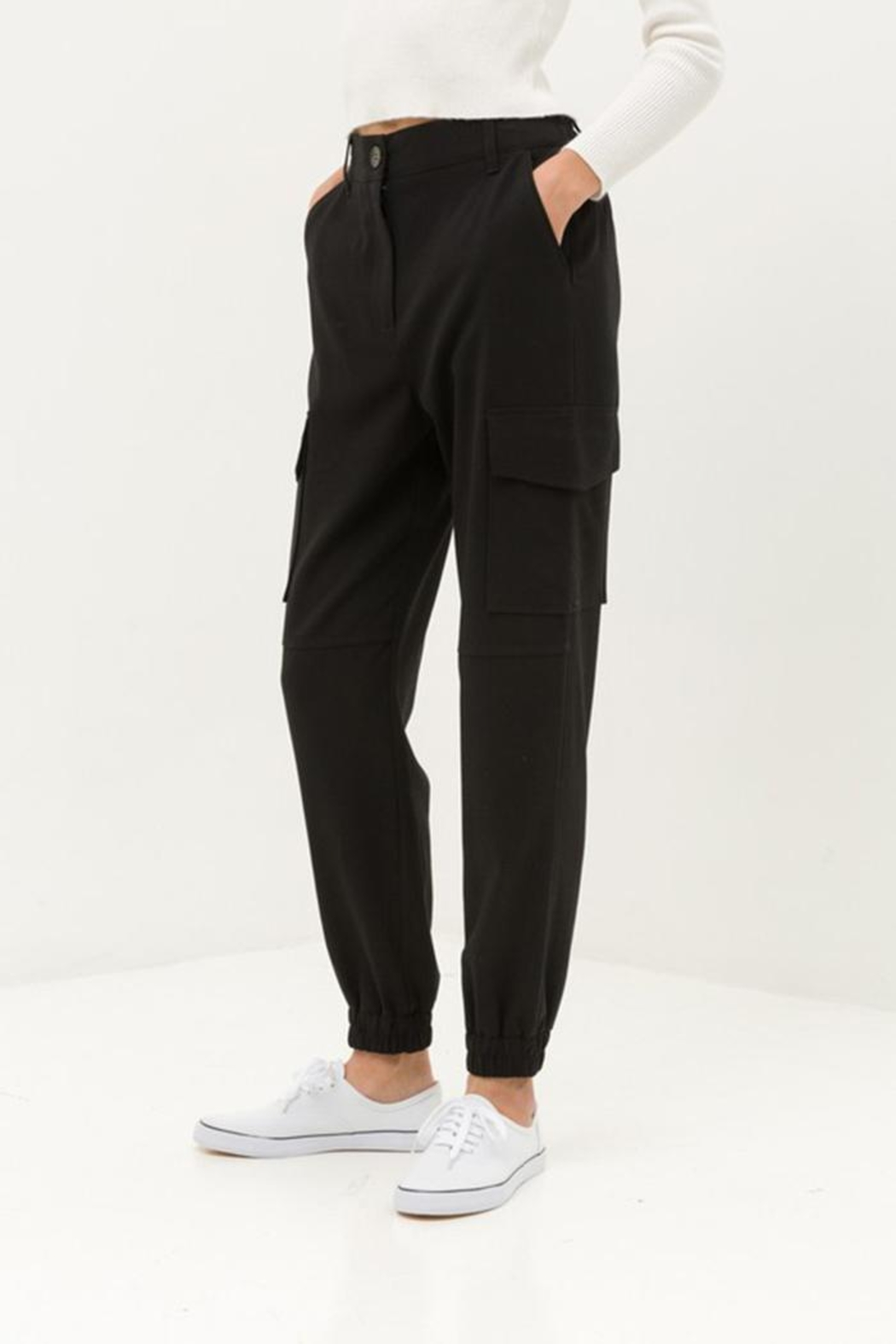 Love Tree Black Cargo Pants - Side Cropped Image
