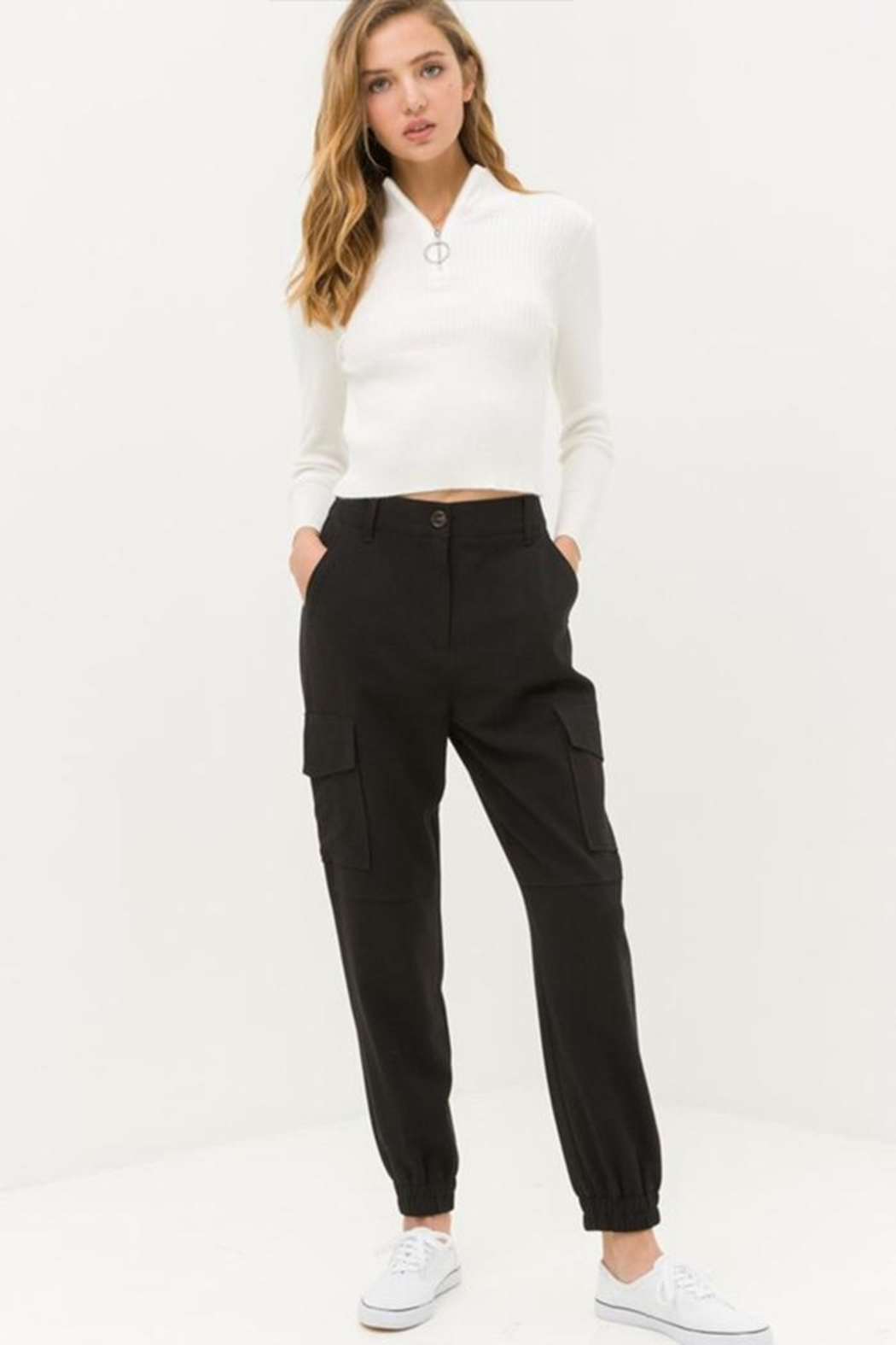 Love Tree Black Cargo Pants - Front Cropped Image