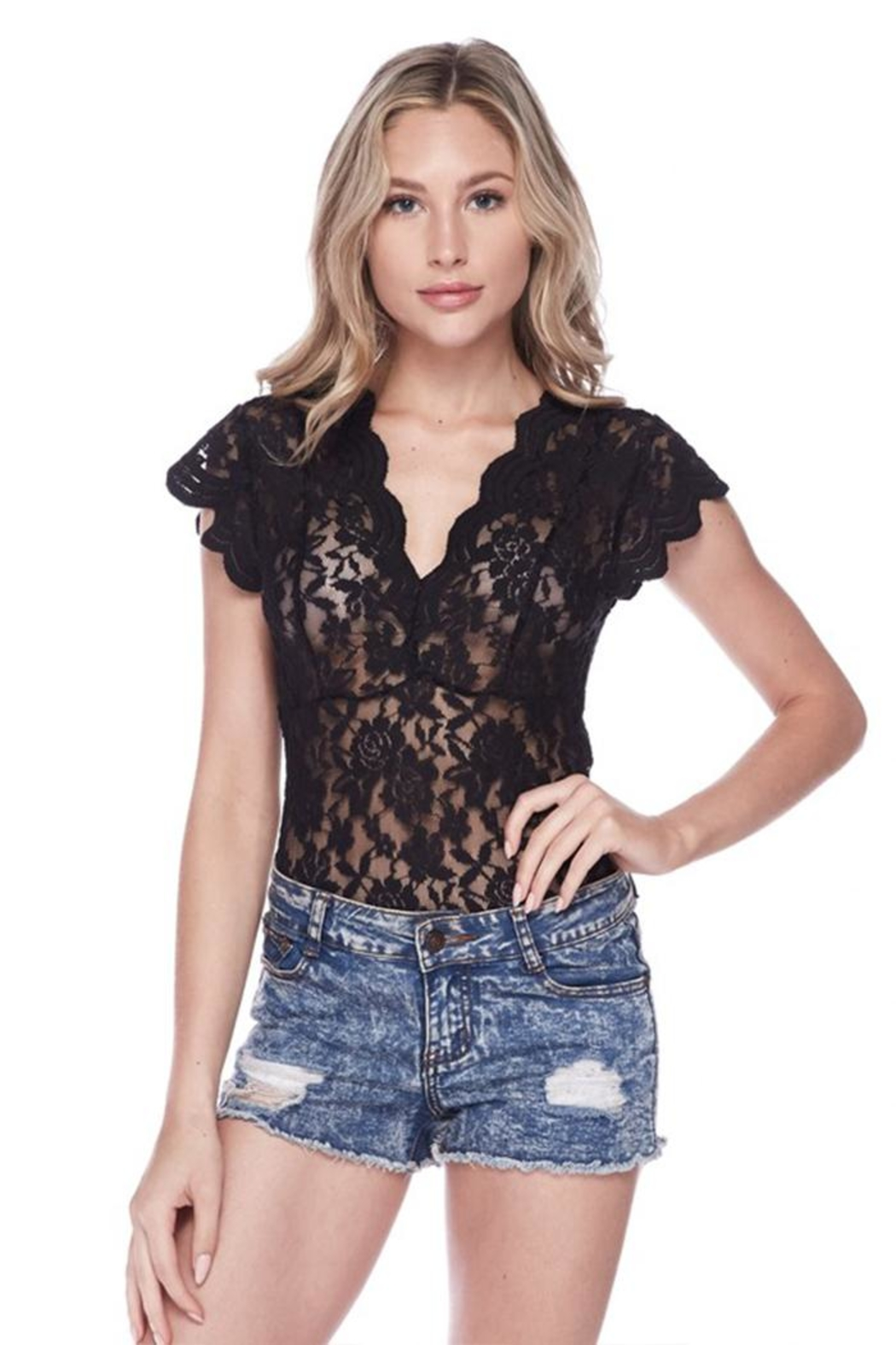 Love Tree Black Lace Bodysuit - Side Cropped Image