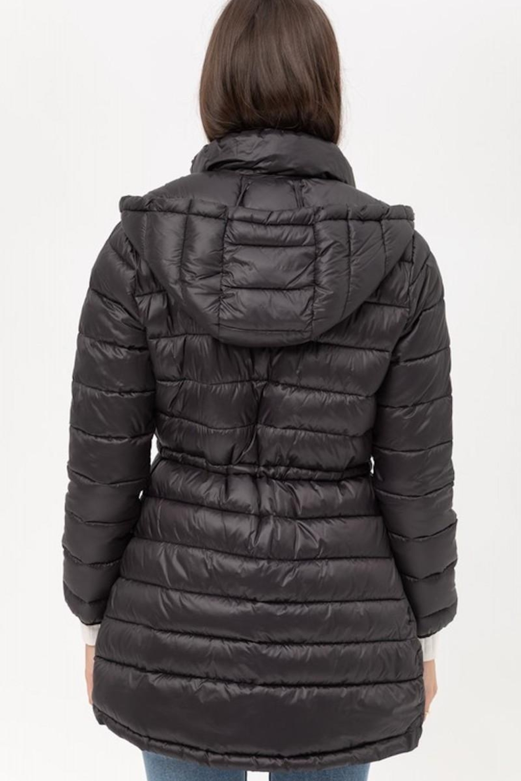 Love Tree Black Puffer Coat - Side Cropped Image