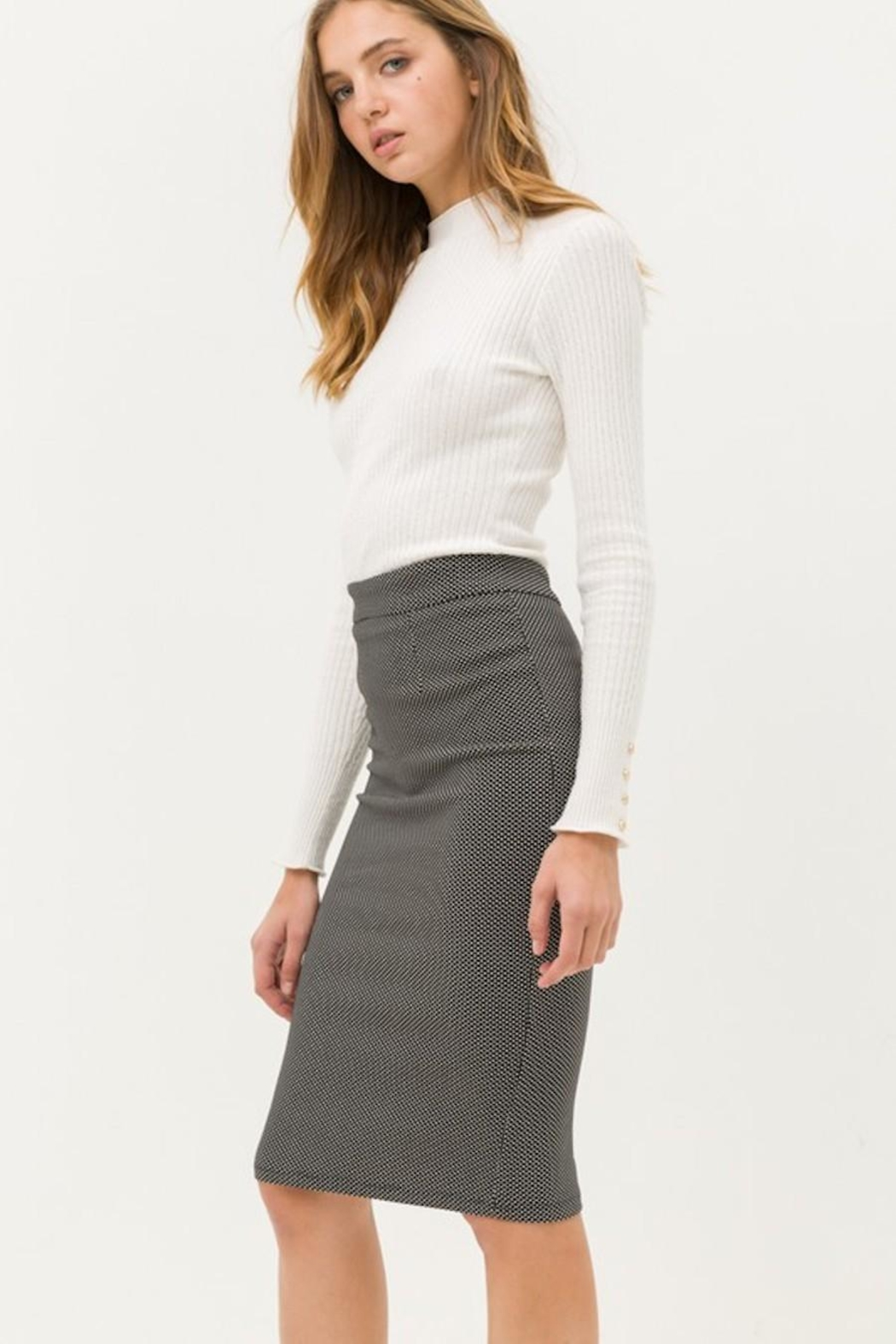 Love Tree Black Tiny Dotted Pencil Skirt - Front Full Image