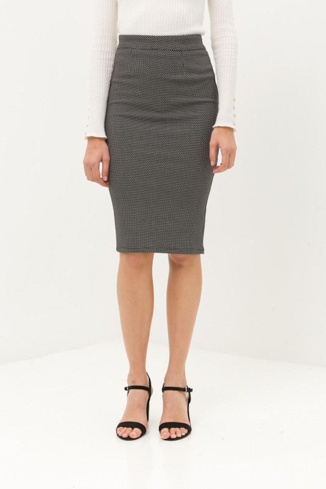 Love Tree Black Tiny Dotted Pencil Skirt - Side Cropped Image