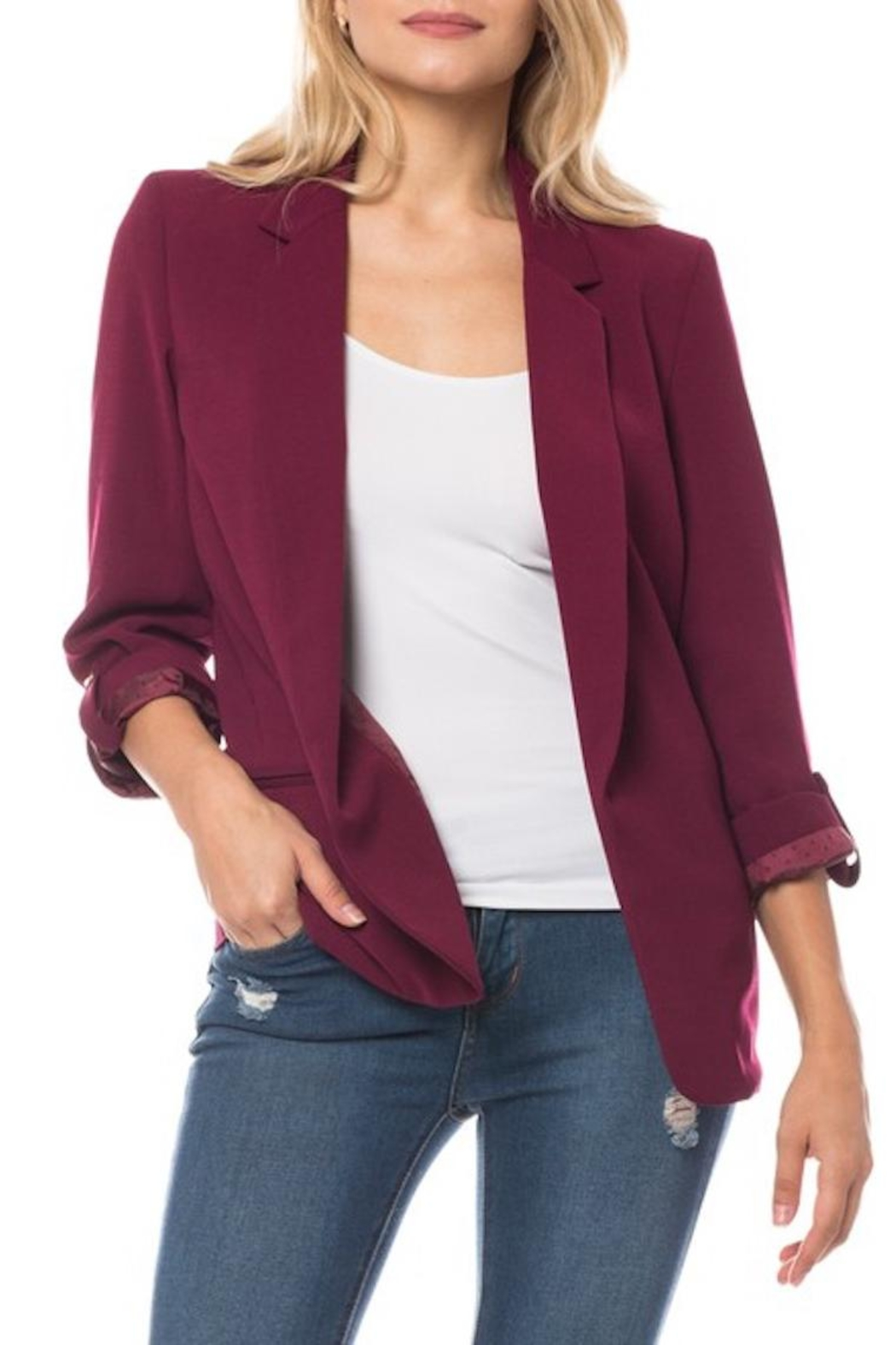 Love Tree Blazer In Wine - Front Cropped Image