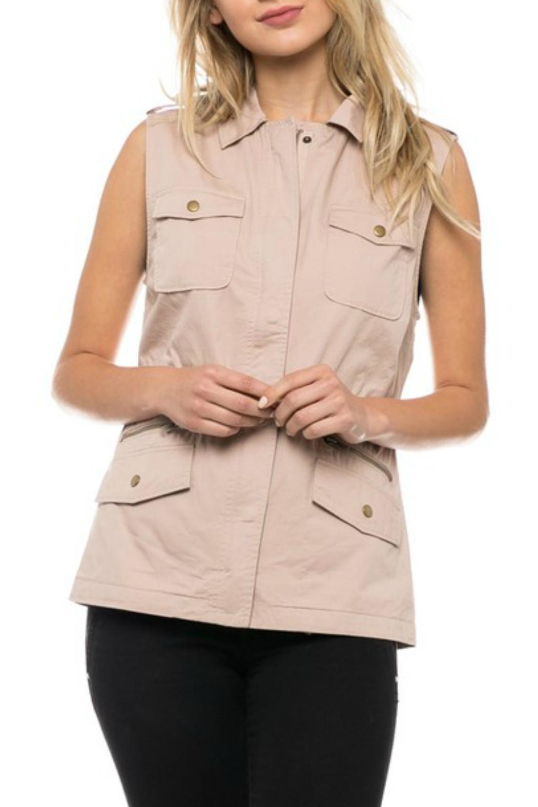 Love Tree Blush Cargo Vest - Front Cropped Image