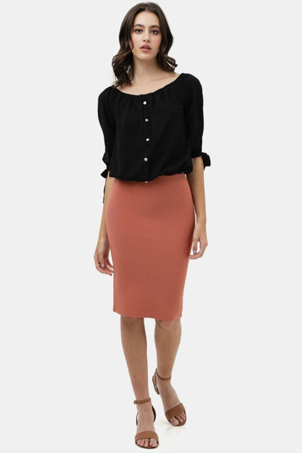 Love Tree Bodycon Pencil Skirt - Back Cropped Image