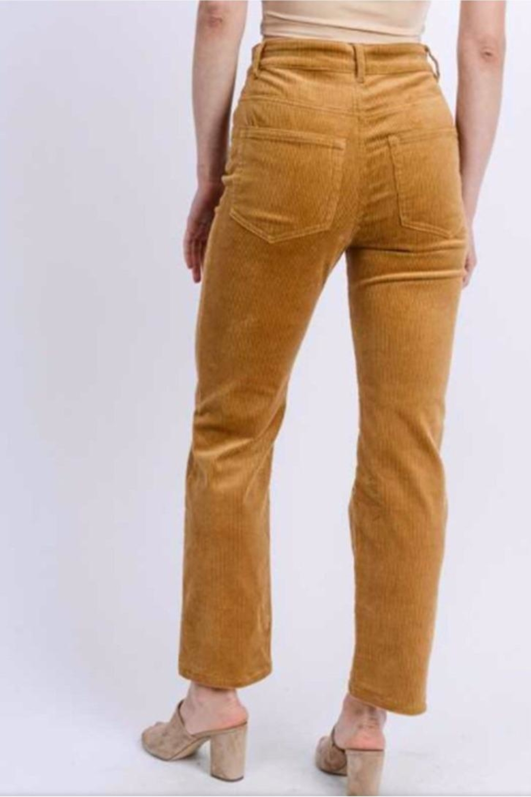 Love Tree Buttoned Corduroy Pants - Front Full Image