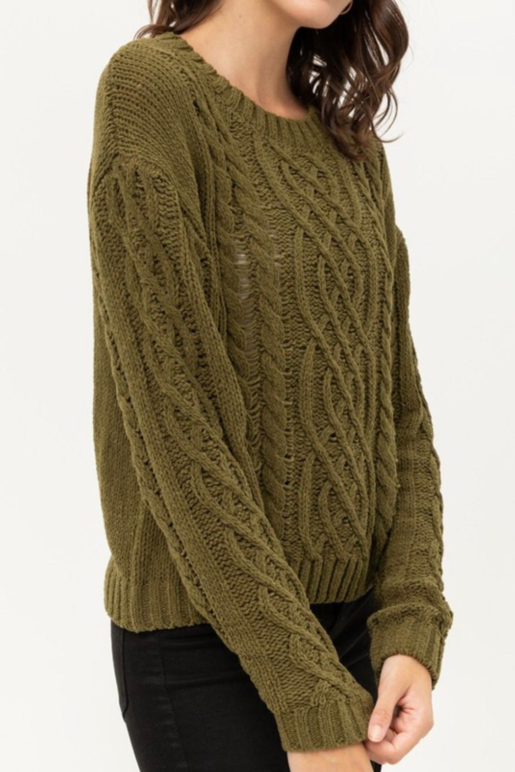 Love Tree Cable Chenille Sweater - Front Full Image