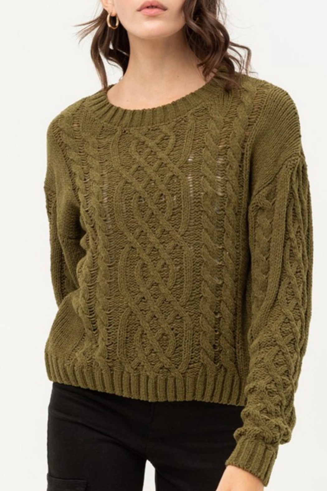 Love Tree Cable Chenille Sweater - Main Image