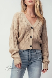 Love Tree Cable-Knit Cropped Cardigan - Product Mini Image