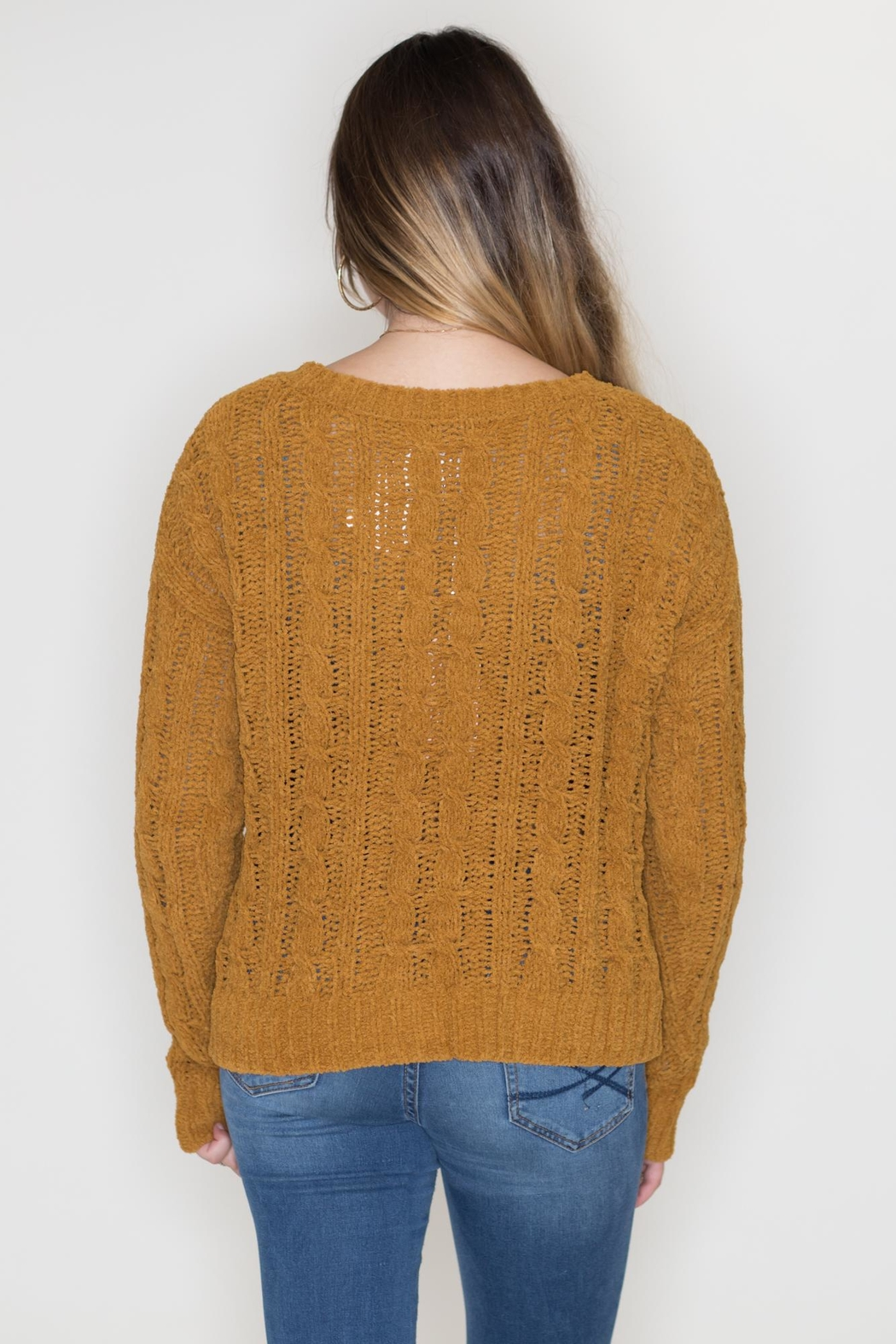 Love Tree Cable Knit Sweater - Side Cropped Image
